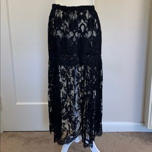 Unique sheer black lace maxi skirt handmade
